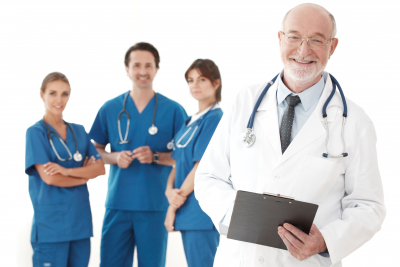 team of doctors and nurses on white background